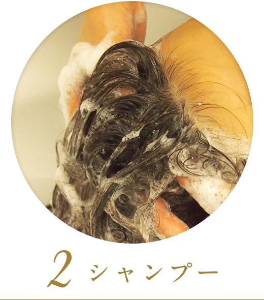 2.シャンプー&マッサージで頭皮をほぐします